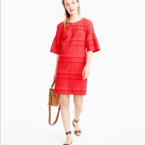 J. CREW TALL FLUTTER SLEEVE SHIFT EYELET DRESS. 6T